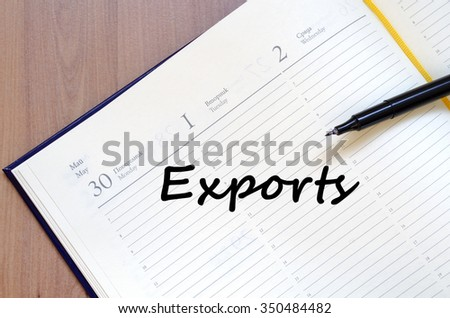 Exports text concept write on notebook with pen