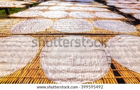Exposure to sun soon noodle cake with cake circle close to moderate exposure latitude dry bamboo brought into rolling fiber and then processed into noodles dishes featured domain Can Tho, Vietnam - stock photo