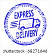 express delivery rubber stamp - stock photo