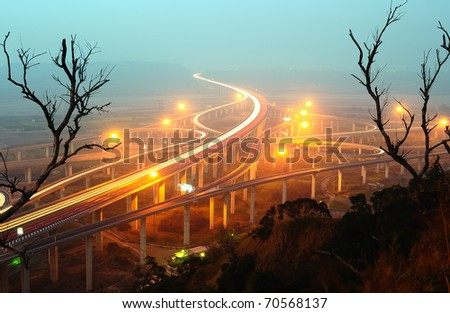 express highway in fog at night