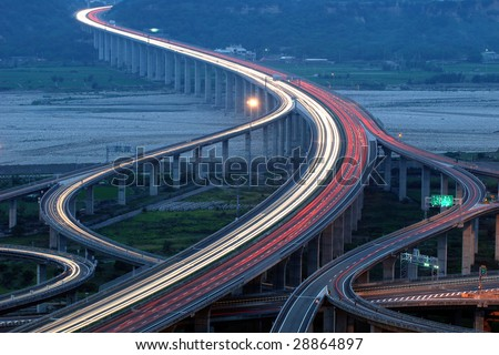 express highway interchange - stock photo