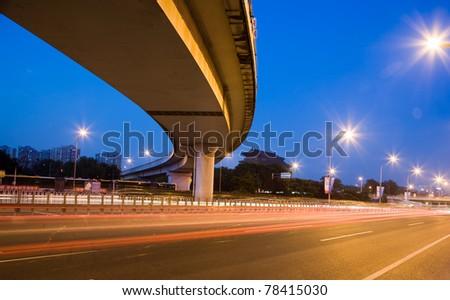 express way at night time - stock photo