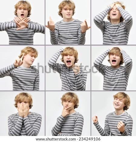 Expression collection  of  teenage boy with curly blond hair  - stock photo