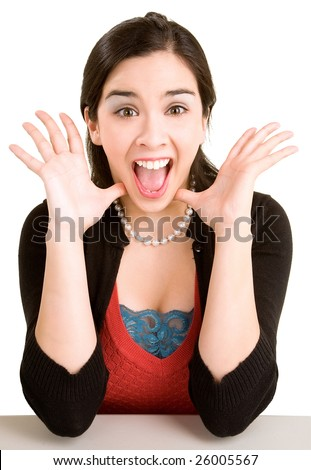 Expression of a Woman Winning Something Big - stock photo