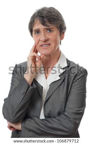 expression of stressed lady on white background - stock photo