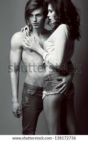 Expression. Pleasure. Couple of Affectionate People in Embrace. Closeness - stock photo