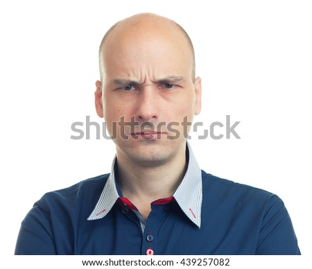 expressions of bald man. Isolated on white background - stock photo
