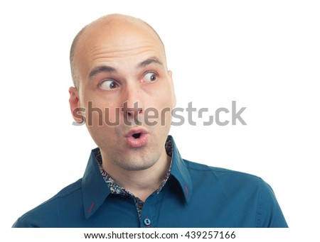 expressions of bald man. Isolated on white background