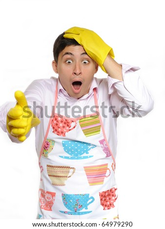 Expressions.shocked house man in apron and yellow glove for washing dishes