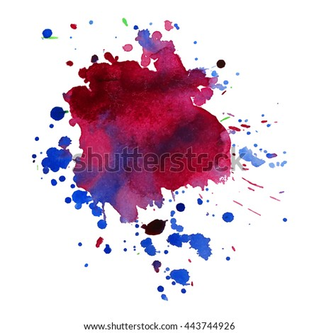 Expressive abstract watercolor stain with splashes and drops of wine violet color. Design background for banner and flyers