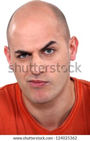 Expressive bald man - stock photo