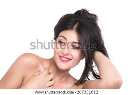 expressive beautiful brunette girl posing on white background