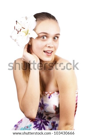 Expressive beautiful girl with a flower isolated on a white background - stock photo