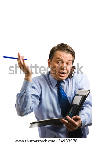 Expressive businessman arguing on phone isolated on white