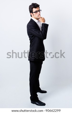 expressive businessman with glasses