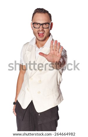 Expressive dude man pointing at camera, over white background