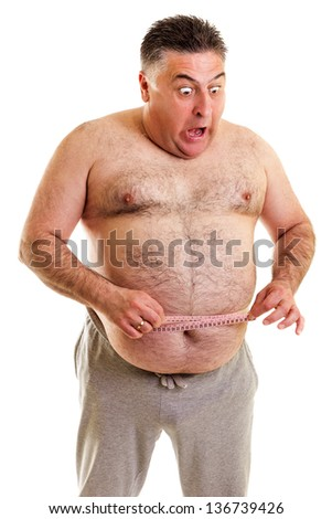 Expressive fat man with a tape measure isolated on white background
