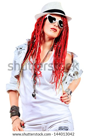 ... singer with great red dreadlocks. Isolated over white. - stock photo