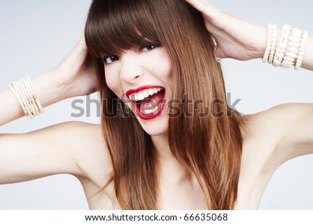 expressive glamour woman - stock photo