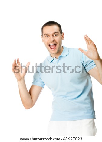 Expressive happy gesturing man, isolated on white background - stock photo