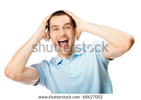 Expressive happy surprised man, isolated on white background - stock photo
