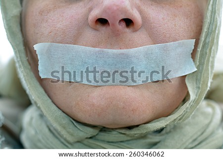 Expressive notice of endangered human rights - stock photo