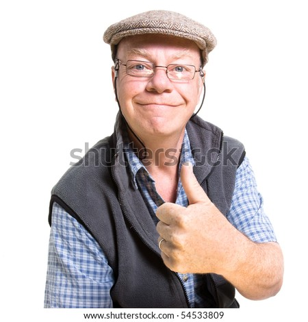 Expressive old man giving thumbs up isolated against white background. - stock photo