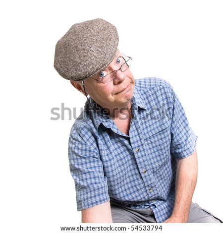 Expressive old man looking daft isolated against white background.