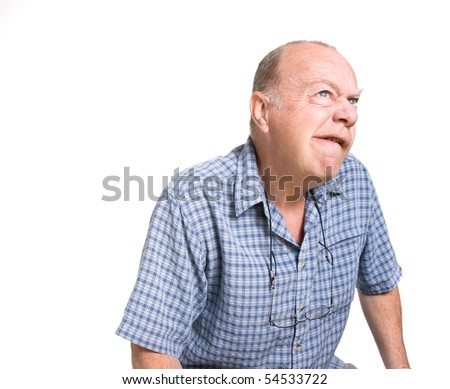 Expressive old man thinking isolated against white background. - stock photo