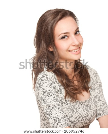 Expressive portrait of a gorgeous happy young brunette woman. - stock photo