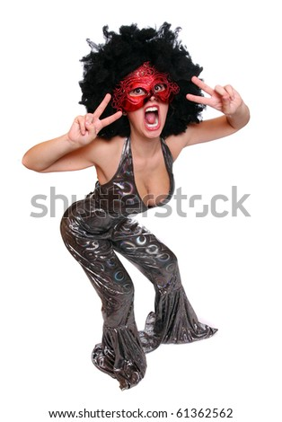 Expressive portrait pretty girl in Halloween costume with mask. - stock photo