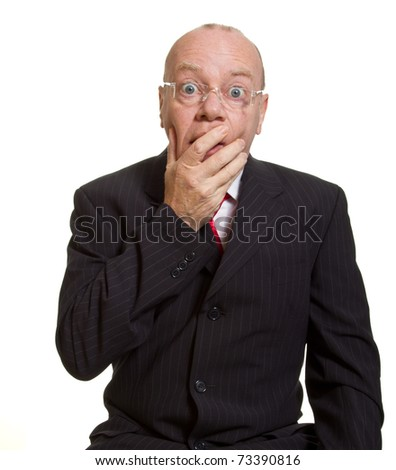 Expressive senior businessman isolated on white shock or surprise concept - stock photo
