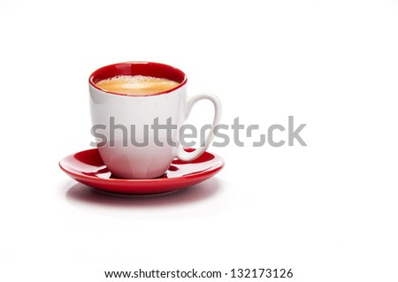 Expresso in red and white cup from front - stock photo