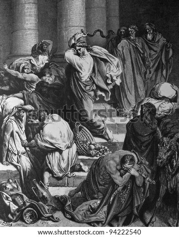 Expulsion from the Temple merchants. 1) Le Sainte Bible: Traduction nouvelle selon la Vulgate par Mm. J.-J. Bourasse et P. Janvier. Tours: Alfred Mame et Fils. 2) 1866 3) France 4) Gustave Doré - stock photo