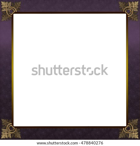 Exquisite picture frame or border with gold patterned corners and royal purple border