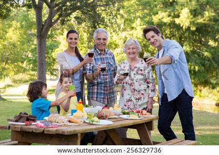 Extended family having an outdoor lunch on a sunny day - stock photo