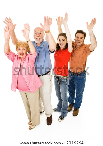 Extended family of grandparents, father, and teen daughter, all giving a big cheer.  Full body isolated on white. - stock photo