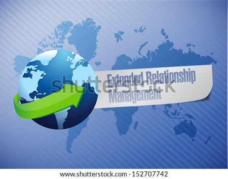 extended relationship management globe concept illustration design over a world map background