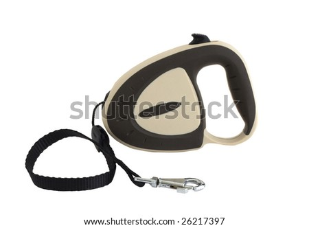 Extending retractable dog leash isolated on white - stock photo