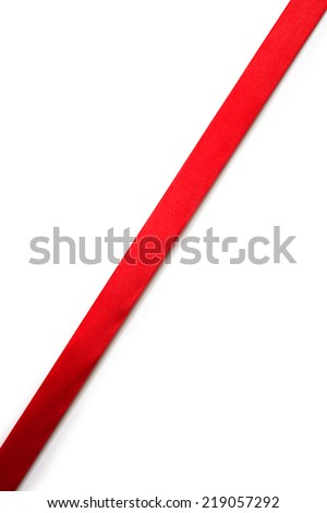 Extending simple diagonal red ribbon, isolated on white.  - stock photo