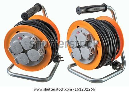 Extension cord reel - stock photo
