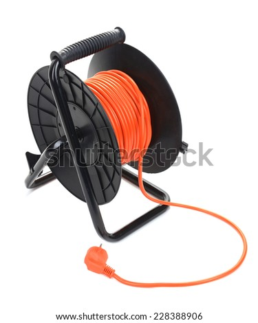 Extension electric cable reel isolated on white background - stock photo
