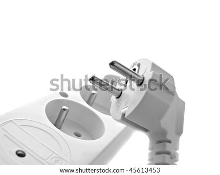 Extension lead isolated on white - stock photo