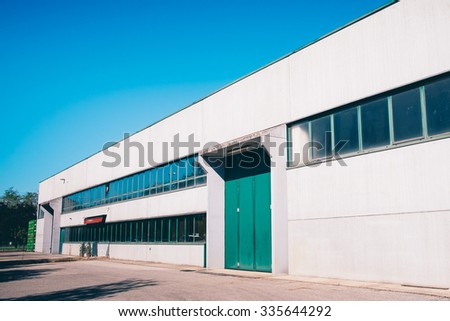 Exterior an industrial warehouse - stock photo