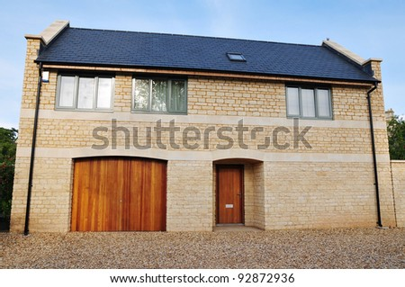 Exterior and Grounds of a Modern Detached House - stock photo