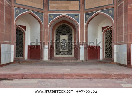 Exterior Arch design work on the outer walls of Humayun Tomb, It is the tomb of the Mughal Emperor Humayun.It was commissioned by Humayun's son Akbar in 1569-70