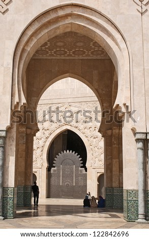 Exterior arch of hassan ii mosque
