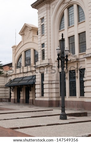 Exterior architecture of the Sala Sao Paulo and Julio Prestes station, Brazil - stock photo