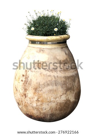 exterior ceramic vase with white background - stock photo