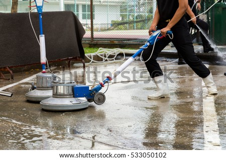 Exterior Concrete Floor Cleaning With Polishing Machine And Chemical